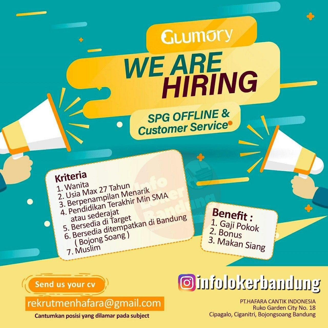 Lowongan Kerja SPG Offline & Customer Service Glomory