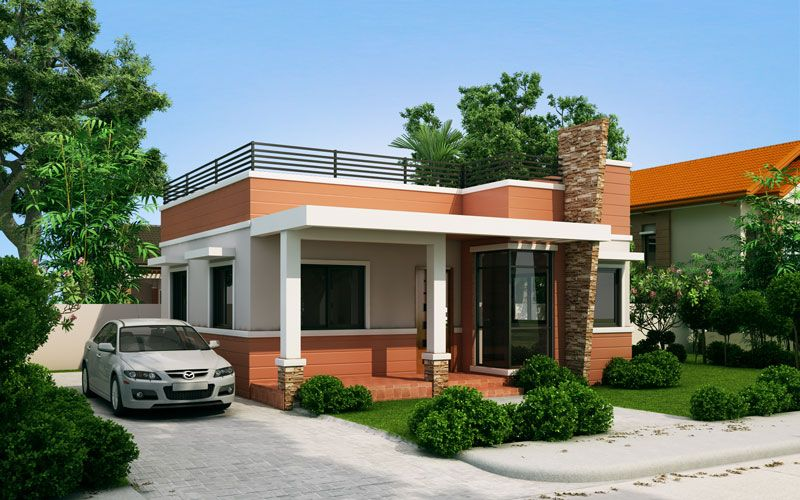 Rommell one storey modern with roof deck pinoy eplans for Small house roof design pictures