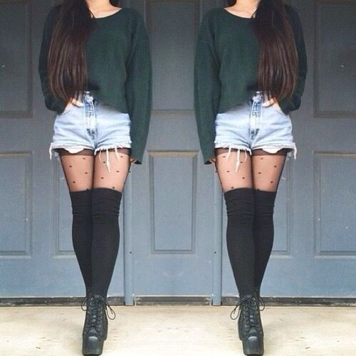 Green jumper, shorts and knee high socks