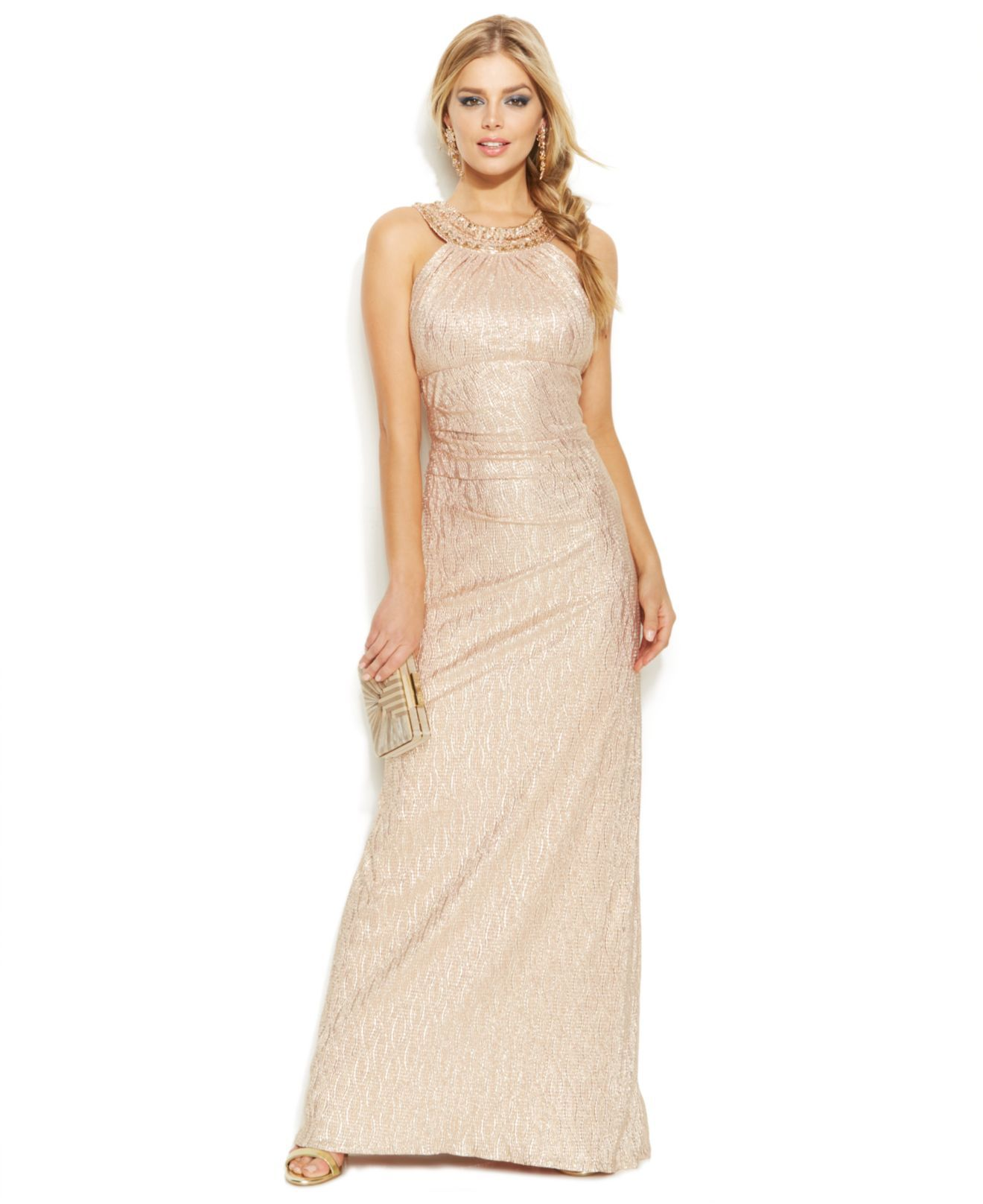 Xscape gold embellished metallic halter gown taille