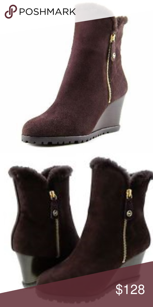 ddc911ecb731 Michael Kors Whitaker Wedge Boot in Coffee These booties from Michael Kors  are perfect for a winter night out  Leather  Sheep shearling lining from ...