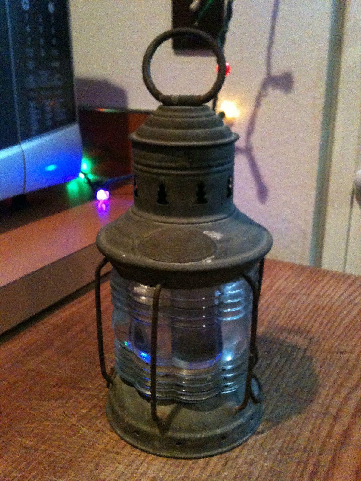Antique 1910 triplex marine maritime nautical ship lantern