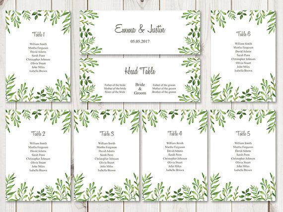 watercolor wedding seating chart template lovely leaves green