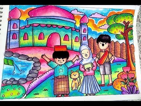 Cara Menggambar Dan Mewarnai Pemandangan Masjid Dengan Gradasi Warna Oil Pastel Crayon Youtube Cara Menggambar Gambar Warna