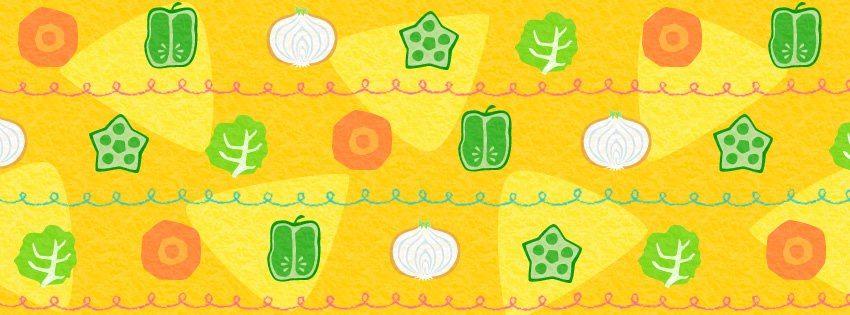【facebook cover】『明日は野菜の日とのことで、カラフル野菜柄ですっ。』