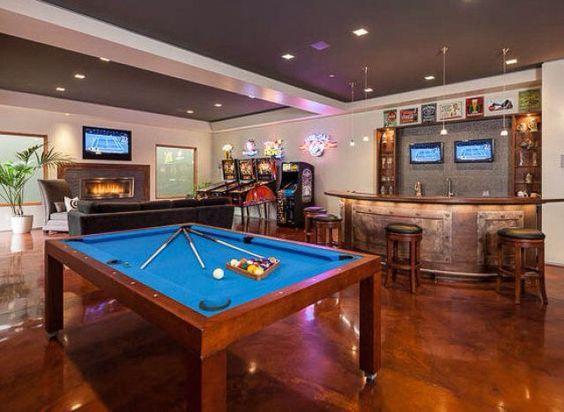 Game Rooms, Ultimate Game Bar, Media Room Bar, Bar Ideas, Big Tv ...