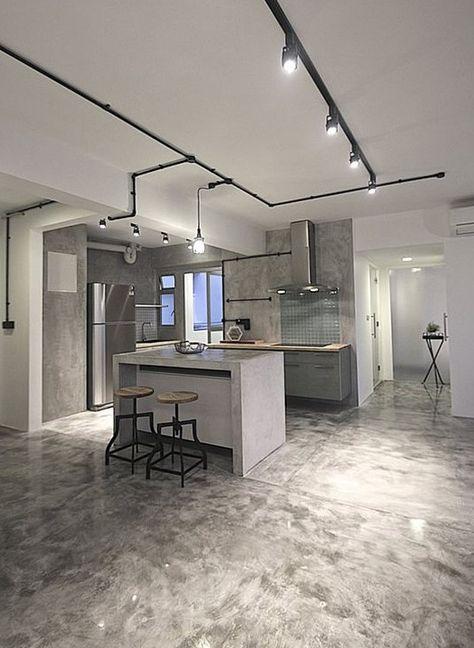 Moderne Küchengestaltung estrich der fußboden im industrial style für moderne