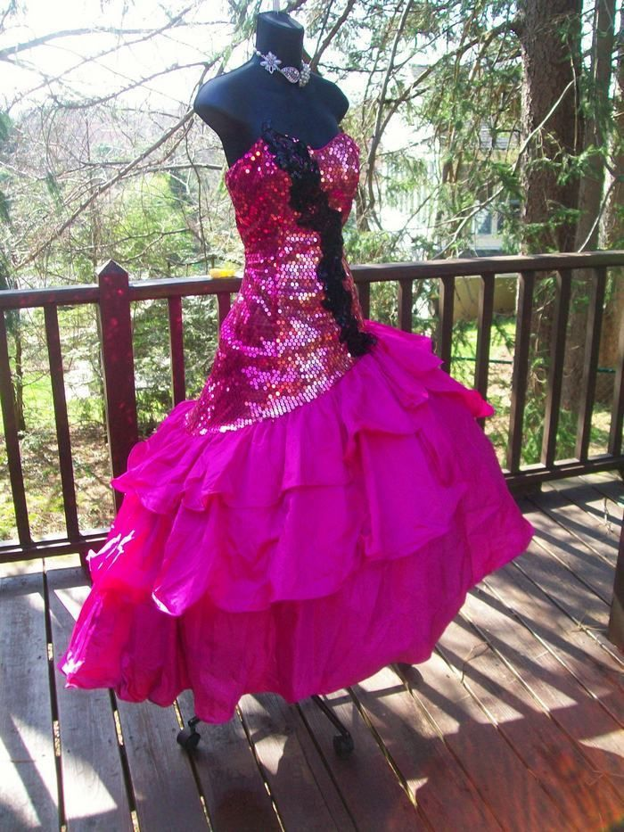VINTAGE 80s PROM PARTY DRESS PINK SEQUINS S-M TOTAL WILD CHILD GLAM ...