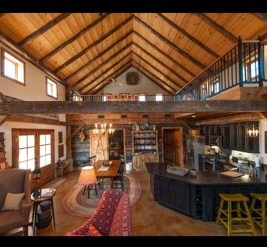 Log Cabin Inspired Open Concept Pole Barn Living Quarters Barn With Living Quarters Pole Barn House Plans