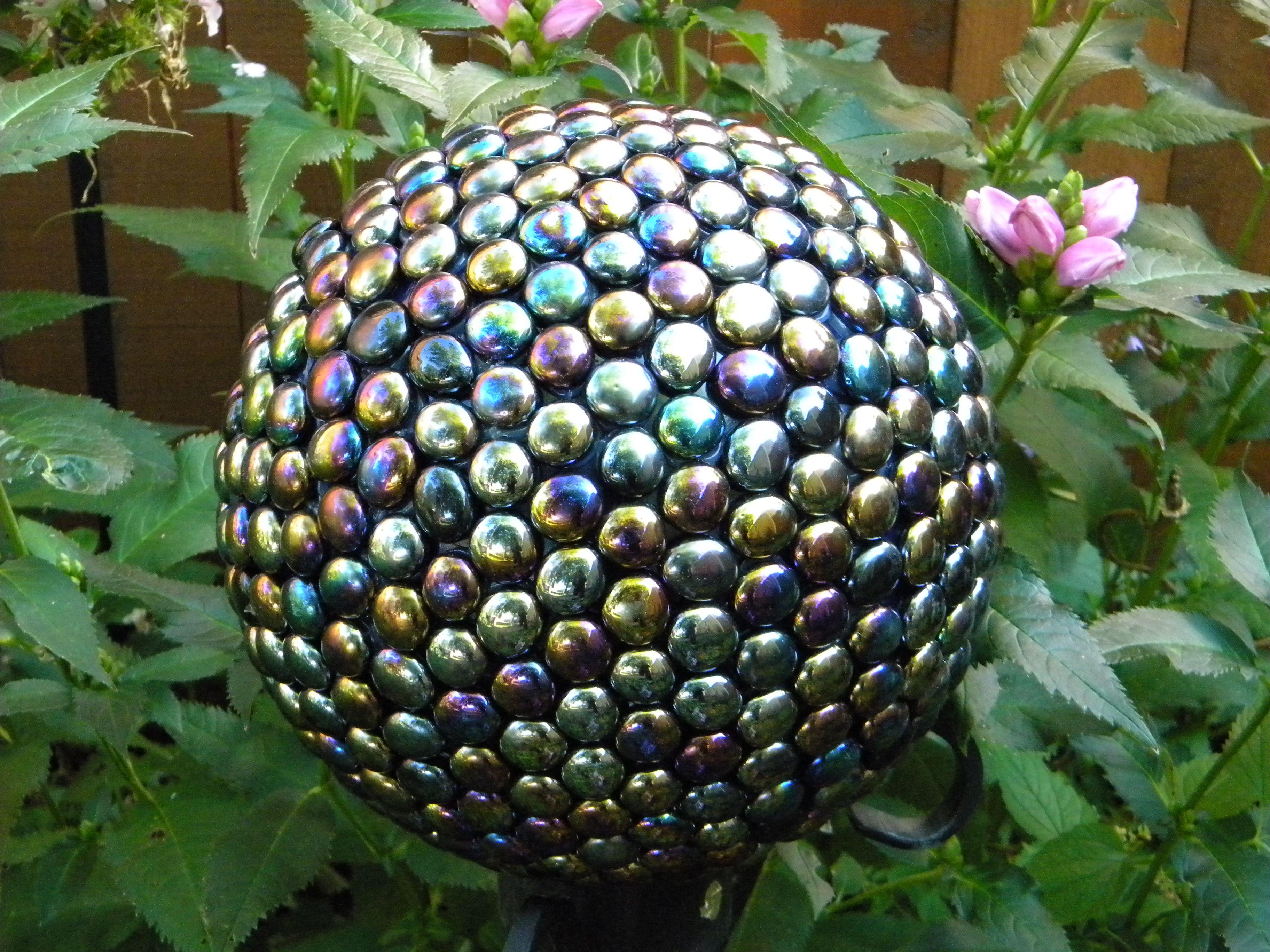 Homemade garden art ideas - My Homemade Gazing Ball