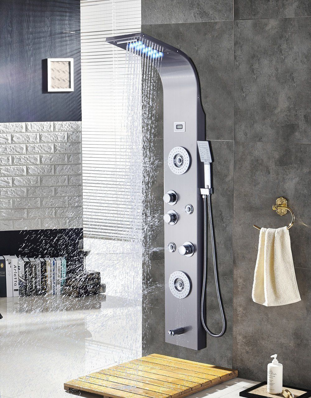 Ello Allo Stainless Steel Shower Panel Tower System Led Rainfall