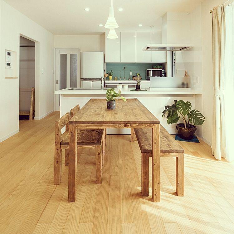 リビング モンステラ グリーンのある暮らし 観葉植物 対面キッチン
