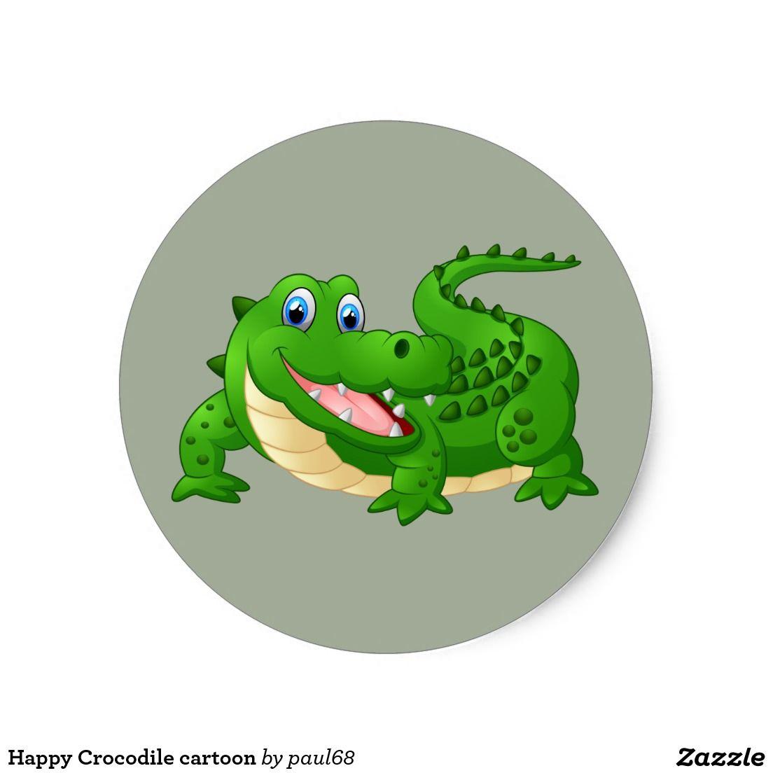 Happy Crocodile Cartoon Classic Round Sticker Zazzle Com Crocodile Cartoon Cartoon Clip Art Animated Animals