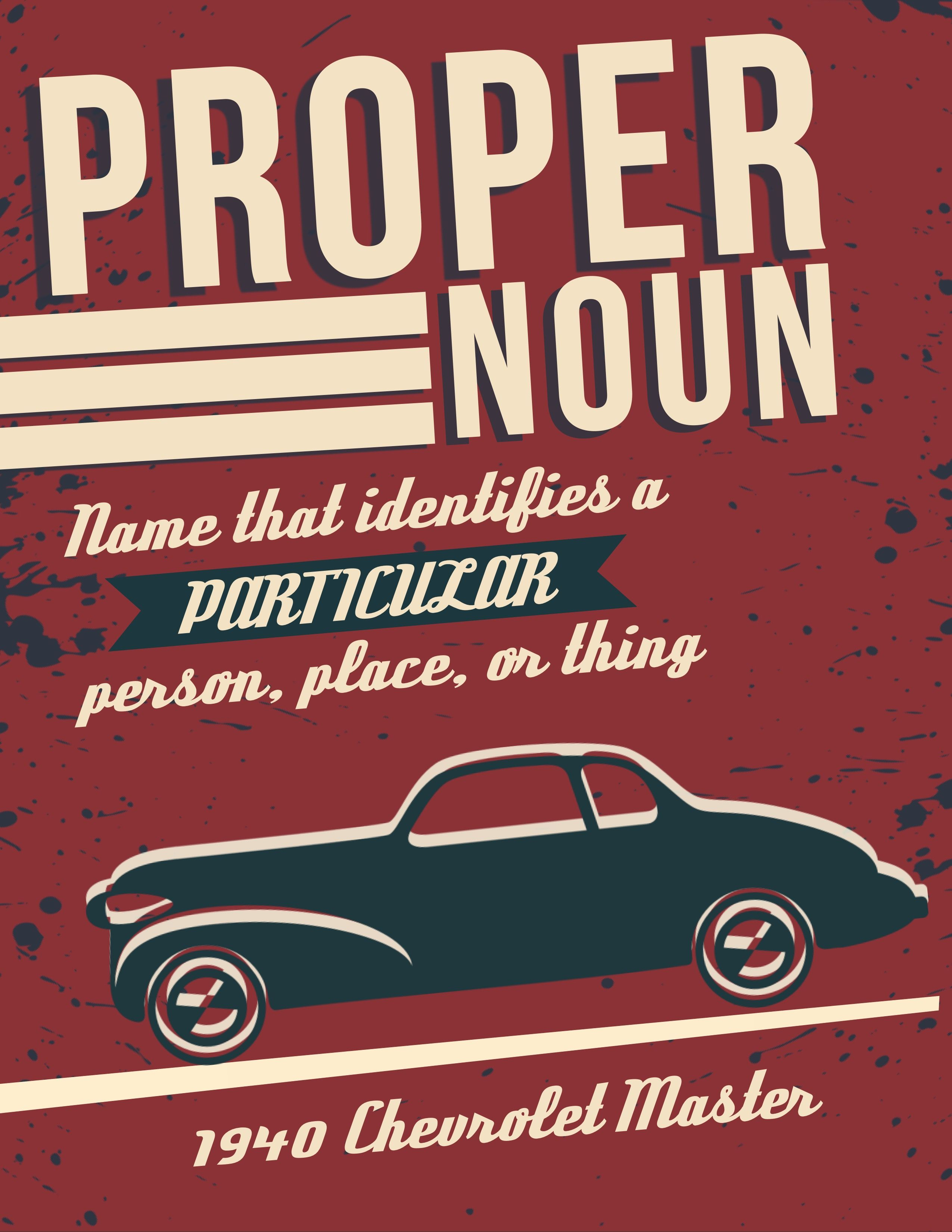 Types Of Nouns Posters In Retro Design For Middle And High
