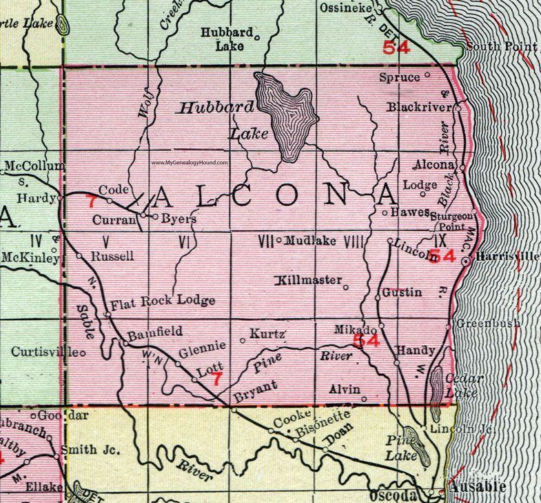 Alcona County Michigan 1911 Map Rand Mcnally Harrisville