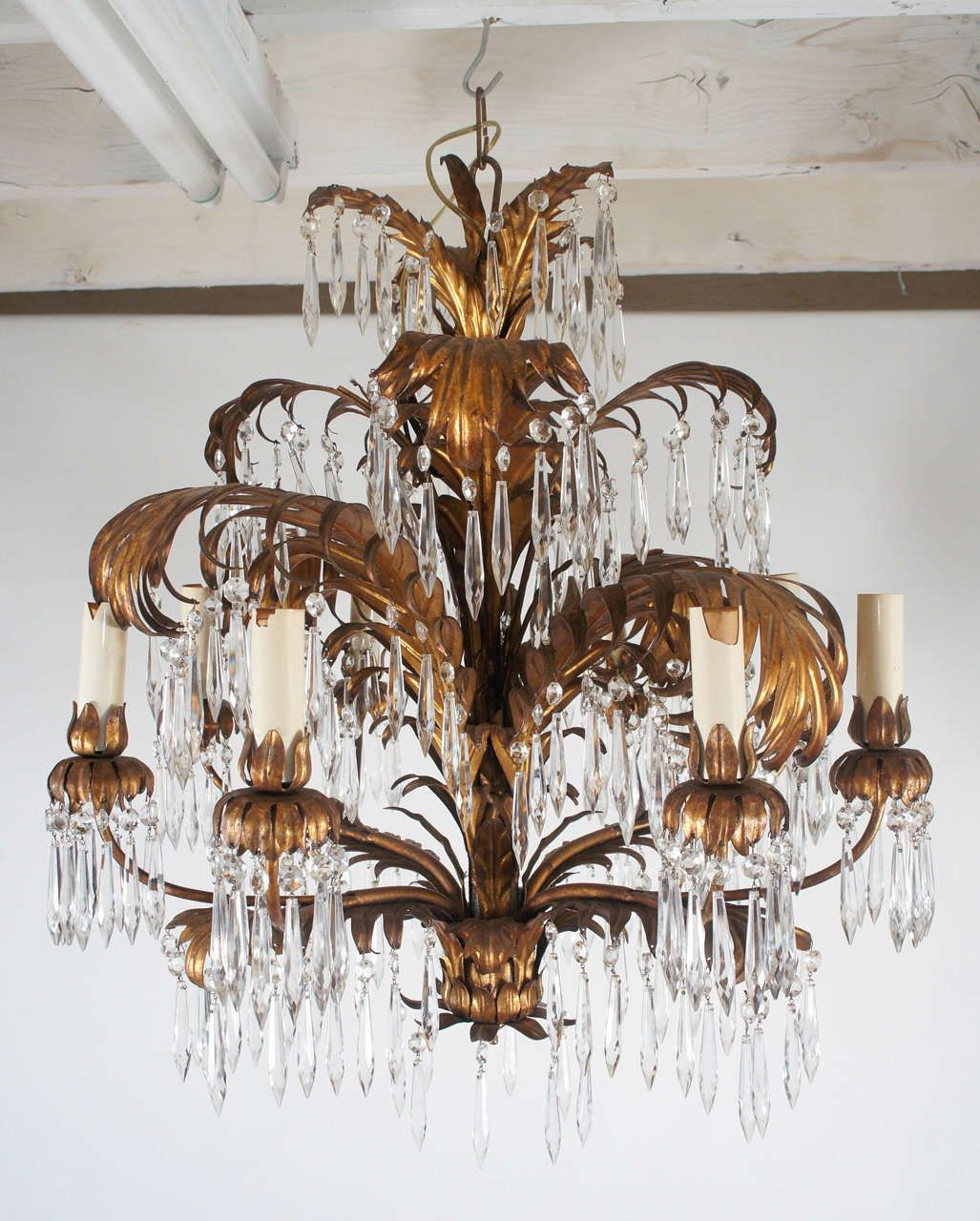 Regency Style, Gilt and Crystal Eight Light Chandelier | From a unique collection of antique and modern chandeliers and pendants  at http://www.1stdibs.com/furniture/lighting/chandeliers-pendant-lights/