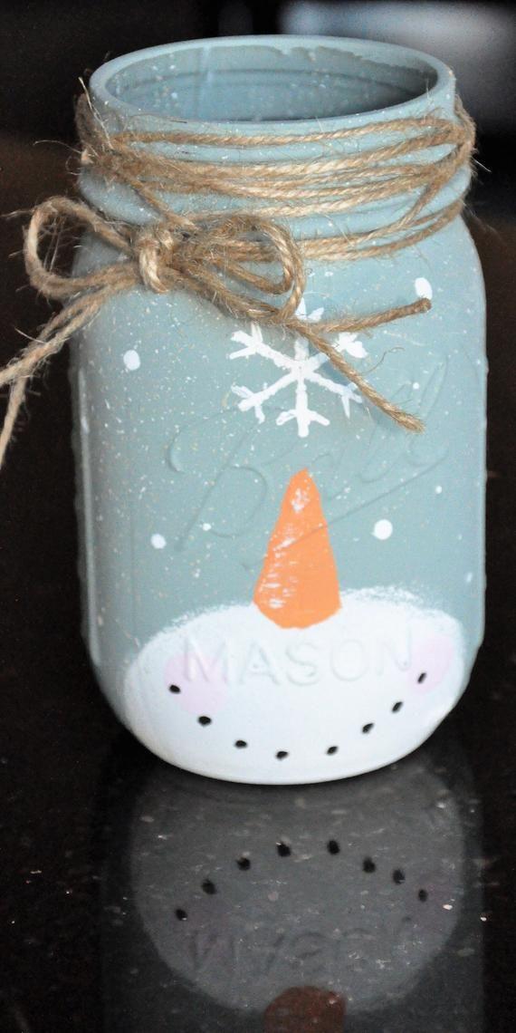 Snowman Mason Jars #masonjardecorating