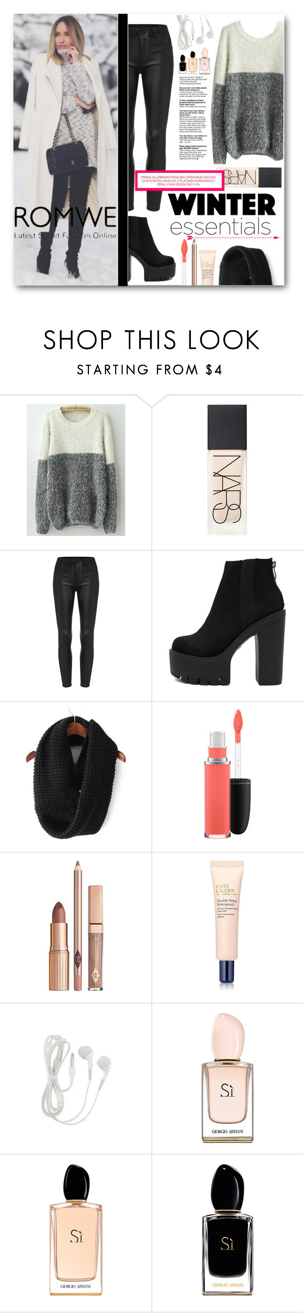 """""""Romwe"""" by tasnime-ben ❤ liked on Polyvore featuring NARS Cosmetics, MAC Cosmetics, Estée Lauder, Giorgio Armani and romwe"""