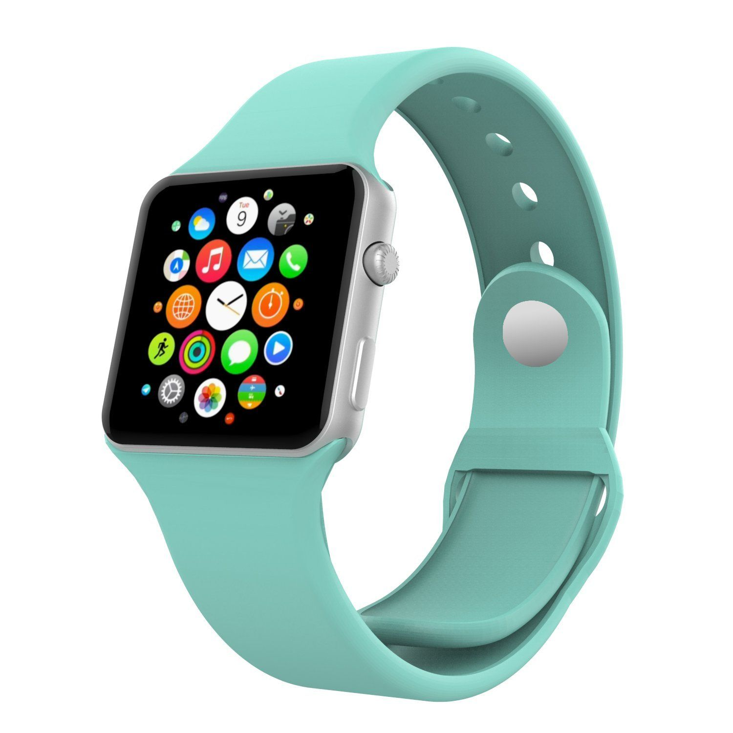 MOKO 38MM MINT GREEN SILICONE SPORT BAND FOR APPLE WATCH