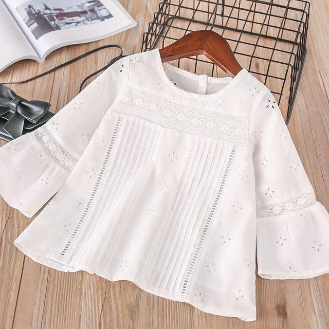 Hurave Bebé 2018 Niñas Bordado O-cuello de la blusa de Los Niños Sólido  Camisa Ropa Niños de Manga Larga Casual Camisa de Botones de la Ropa 59857712eebbb