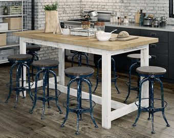 Shabby Chic Recycled Vintage White Timber Natural Wood High Bench Kitchen Dining Table