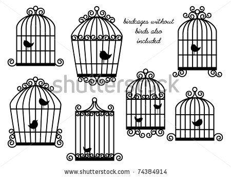 Birds And Birdcages Vector Set Birdcages Without Birds Also Included Cage Tattoos Birdcage Tattoo Vintage Bird Cage