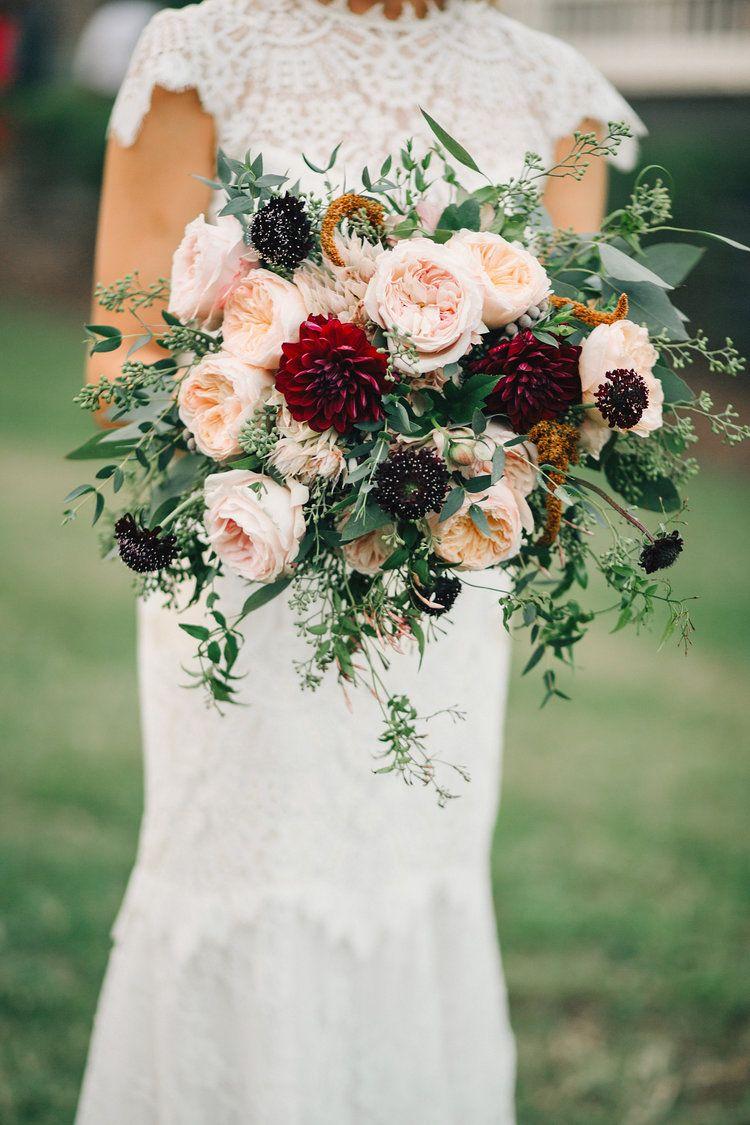 Sara Ben Stylish Fall Wedding In Nashville Flower Bouquet