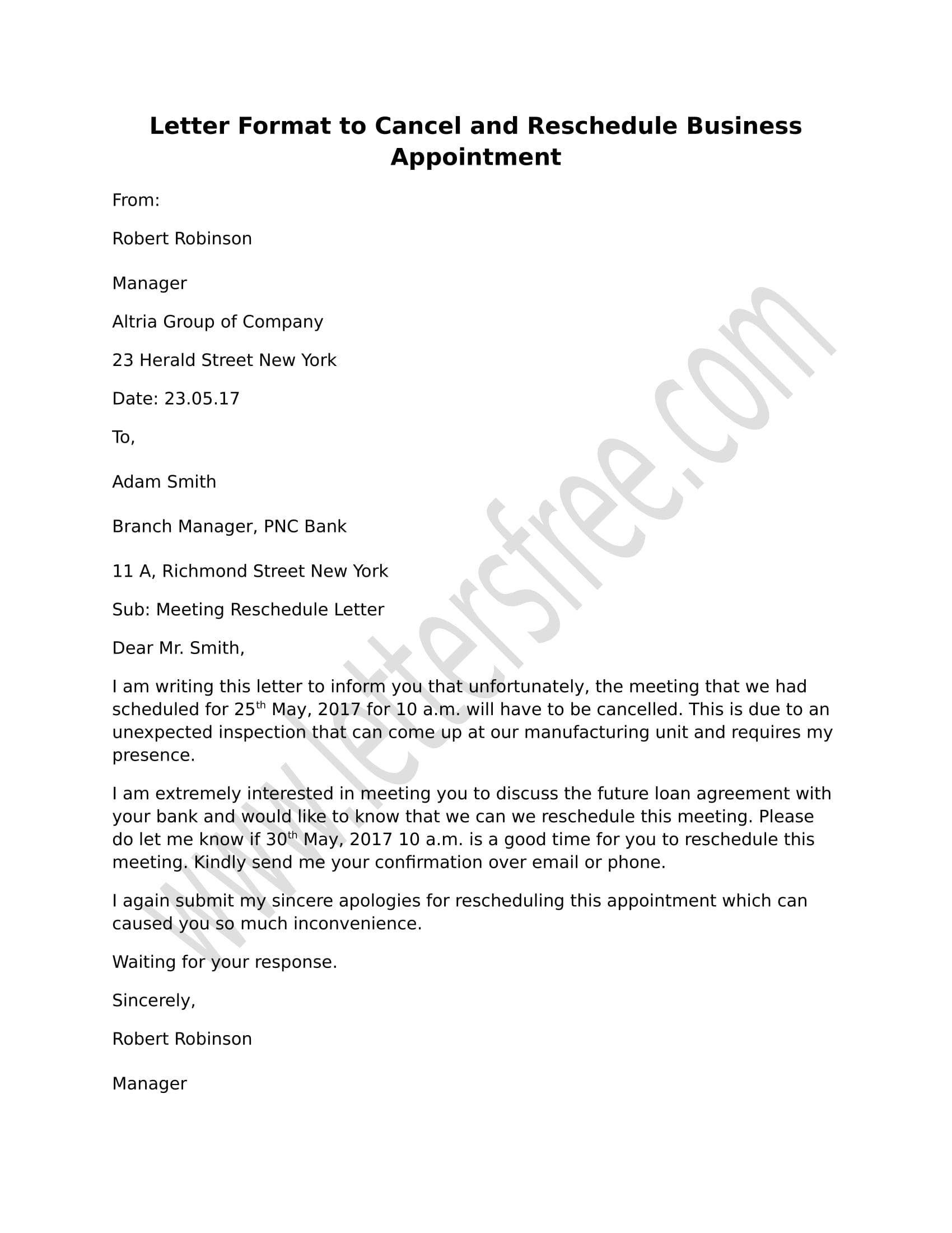 letter to cancel and reschedule business appointment appointment