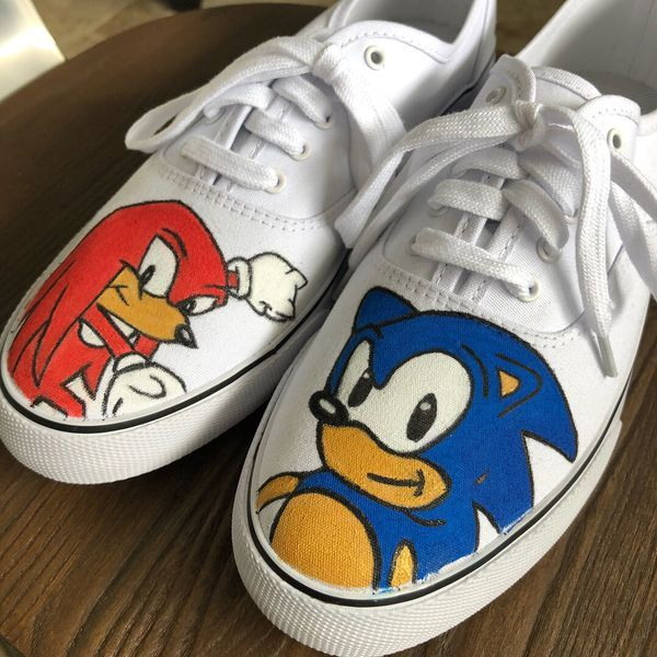 Sonic The Hedgehog Custom Painted Shoes For Sale In San Diego Ca Painted Shoes Sonic Shoes