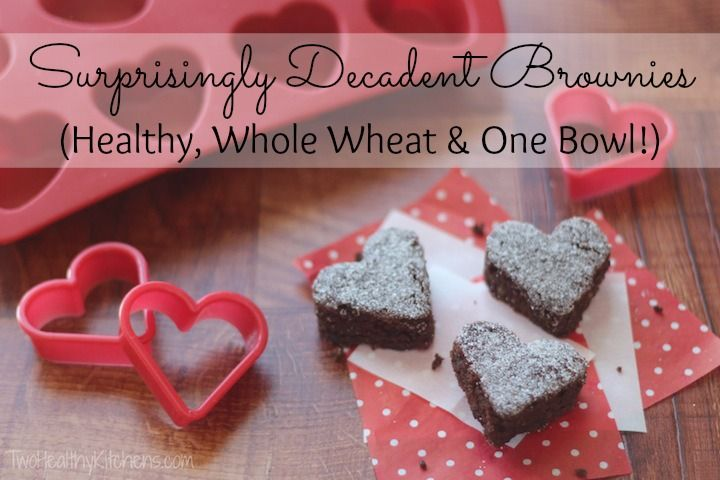 Surprisingly Decadent Brownies (Healthy, Whole Wheat & One Bowl!) … with Valentine's Day Ideas!  Rich, moist, delicious fudge brownies that are surprisingly healthy and also super quick and easy to make!
