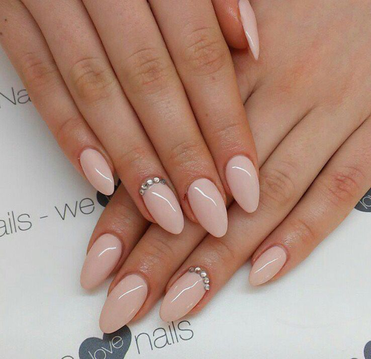 almond nude pink gel nails with gems simple n elegant need to try if you like these nails. Black Bedroom Furniture Sets. Home Design Ideas