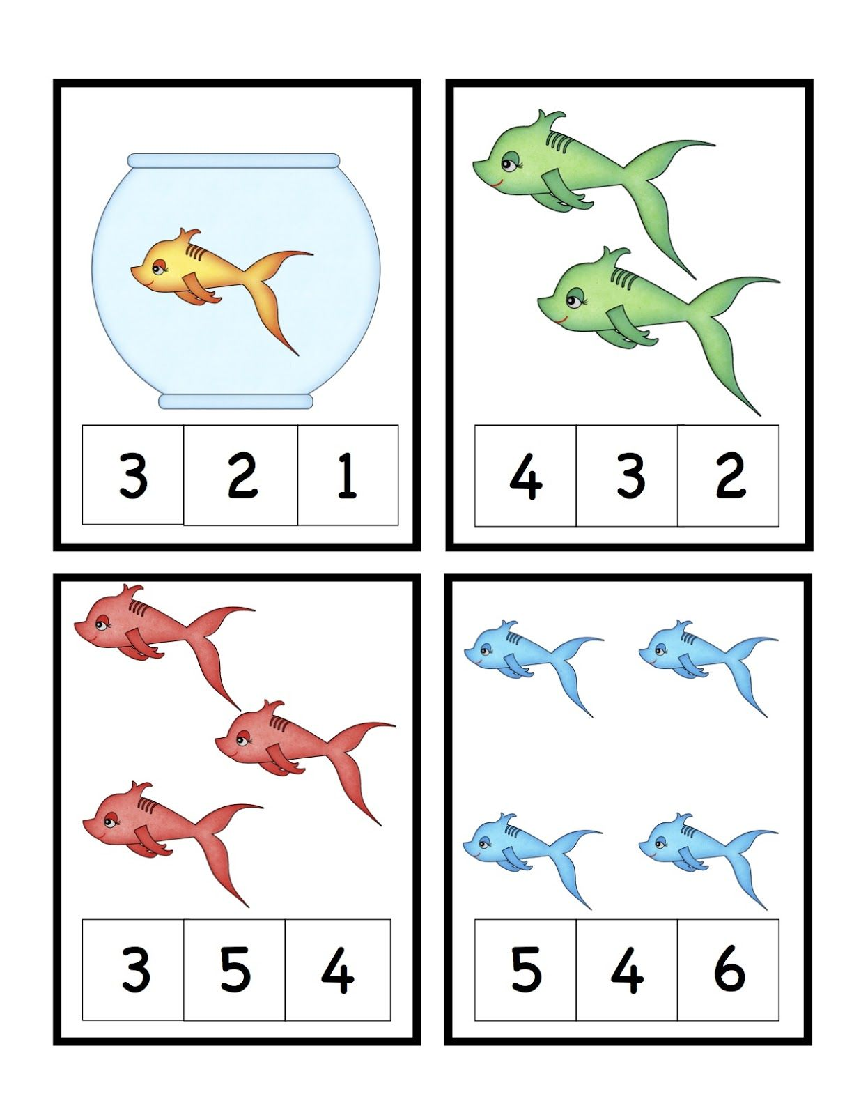 Dr Seuss Theme Free Preschool Printables Cute Fish Number Math Worksheets
