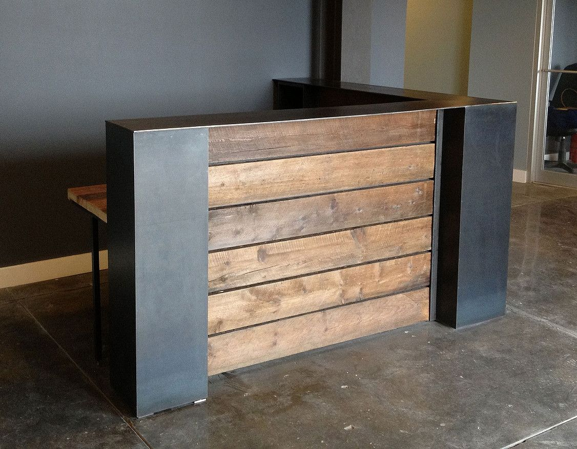 Stained pine and steel point of sale counter or reception