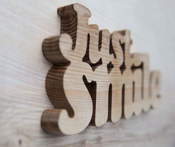 Just Smile Wooden Words Custom Ash Wood Word Letters For Wall Natural Eco Home Decor Sign