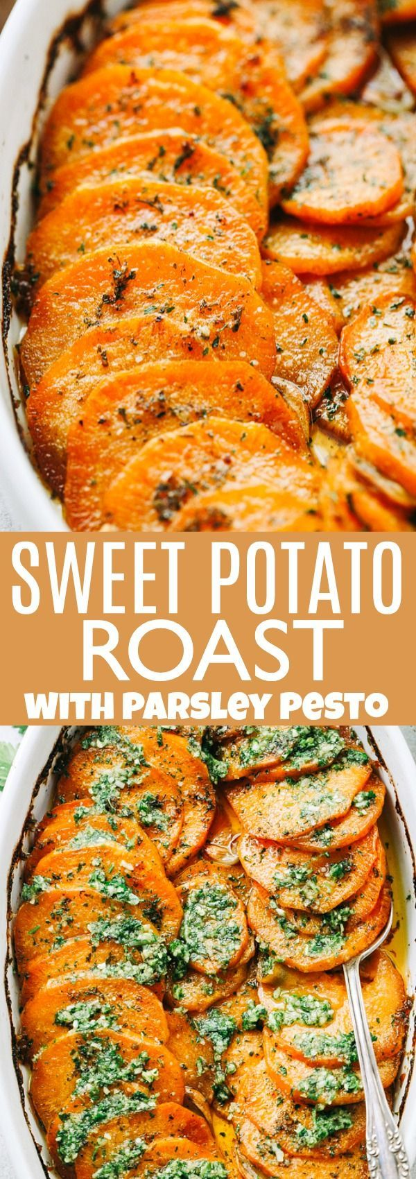 Sweet Potato Roast - Smoky and sweet thinly sliced sweet potatoes served with parsley pesto. These are going to be your new favorite side dish. #sweetpotatoes #thanksgiving #vegetarian #diethood #chickensidedishes