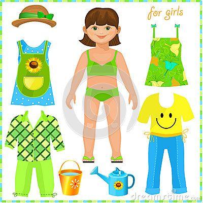 Muñeca de papel con un sistema de ropa. Muchacha linda.