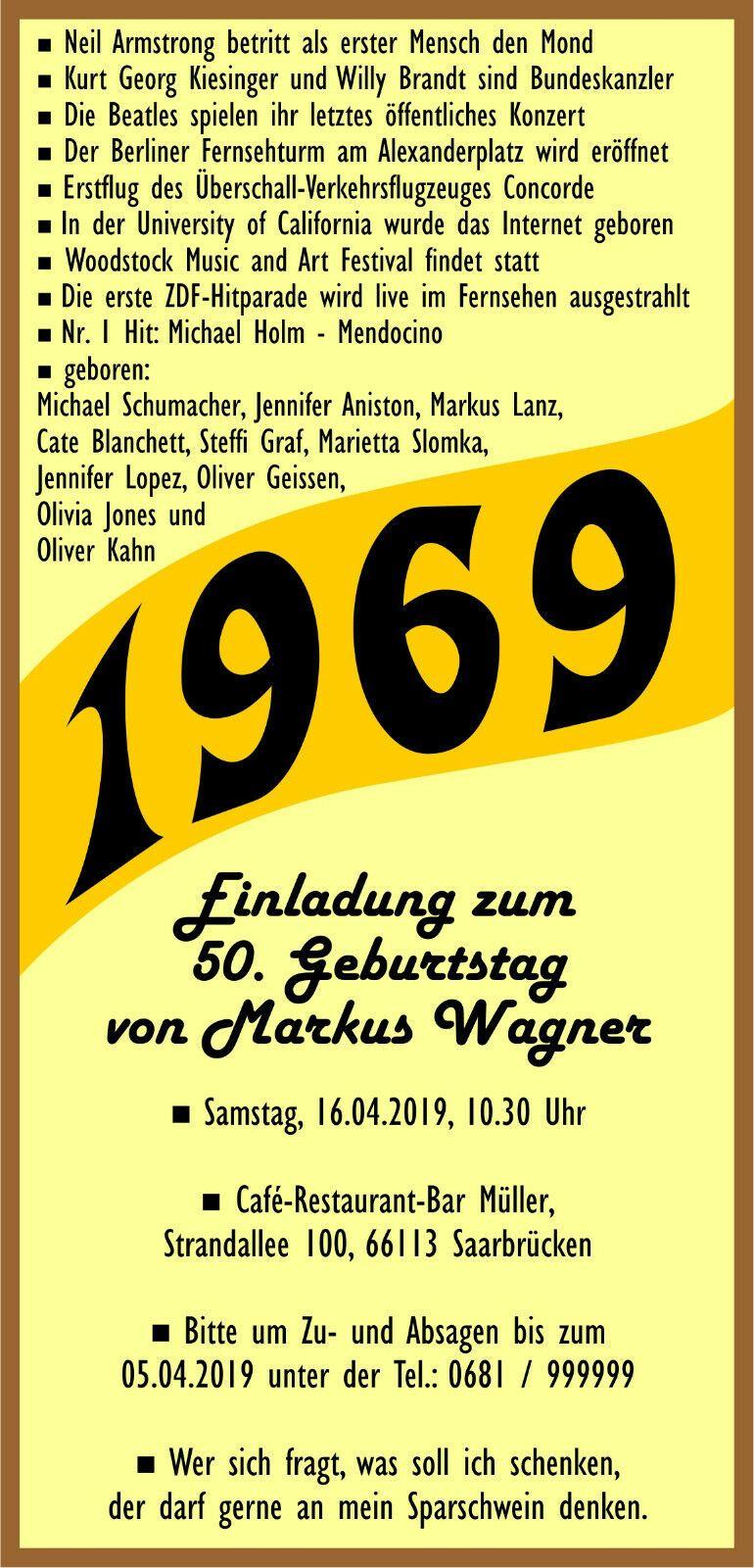 Einladungskarten Einladungen 50 Geburtstag 1969 Originell