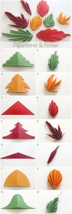 Bunte Herbstblätter falten - Anleitung auf