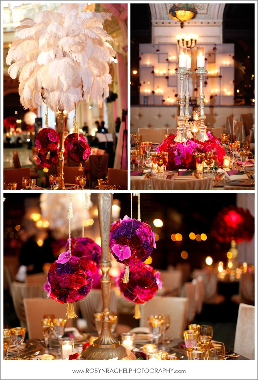 Wedding decorations gold and pink  Feather wedding decor Love the feather center pieces  Birthday
