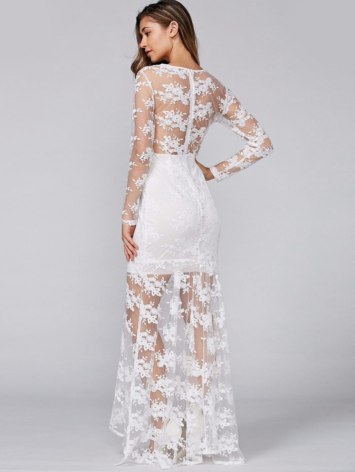 See Through Lace Slimming Maxi Dress Ad Spon Slimming Lace Dress Maxi Full Sleeve Lace Dress Lace Panel Dress Lace Pink Dress