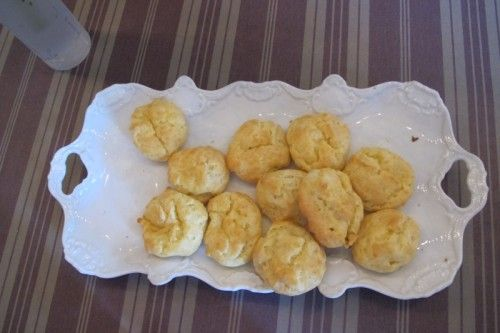 Les Gougeres (Cheese Puffs)...http://kitchenconundrum.com/2011/12/renees-run-away-to-live-in-paris-ok-just-for-a-month/#