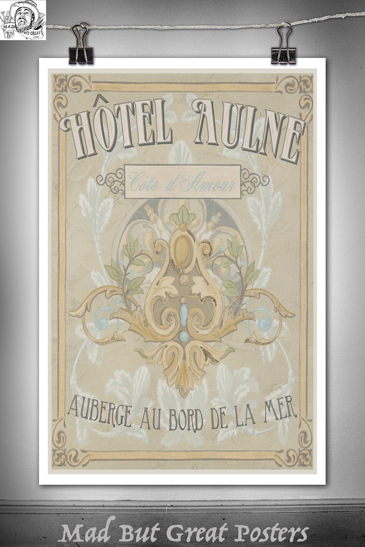 Vintage Posters For Kitchen Fridge Hotel Aulne Cote D 39amour Retro Sign Canvas