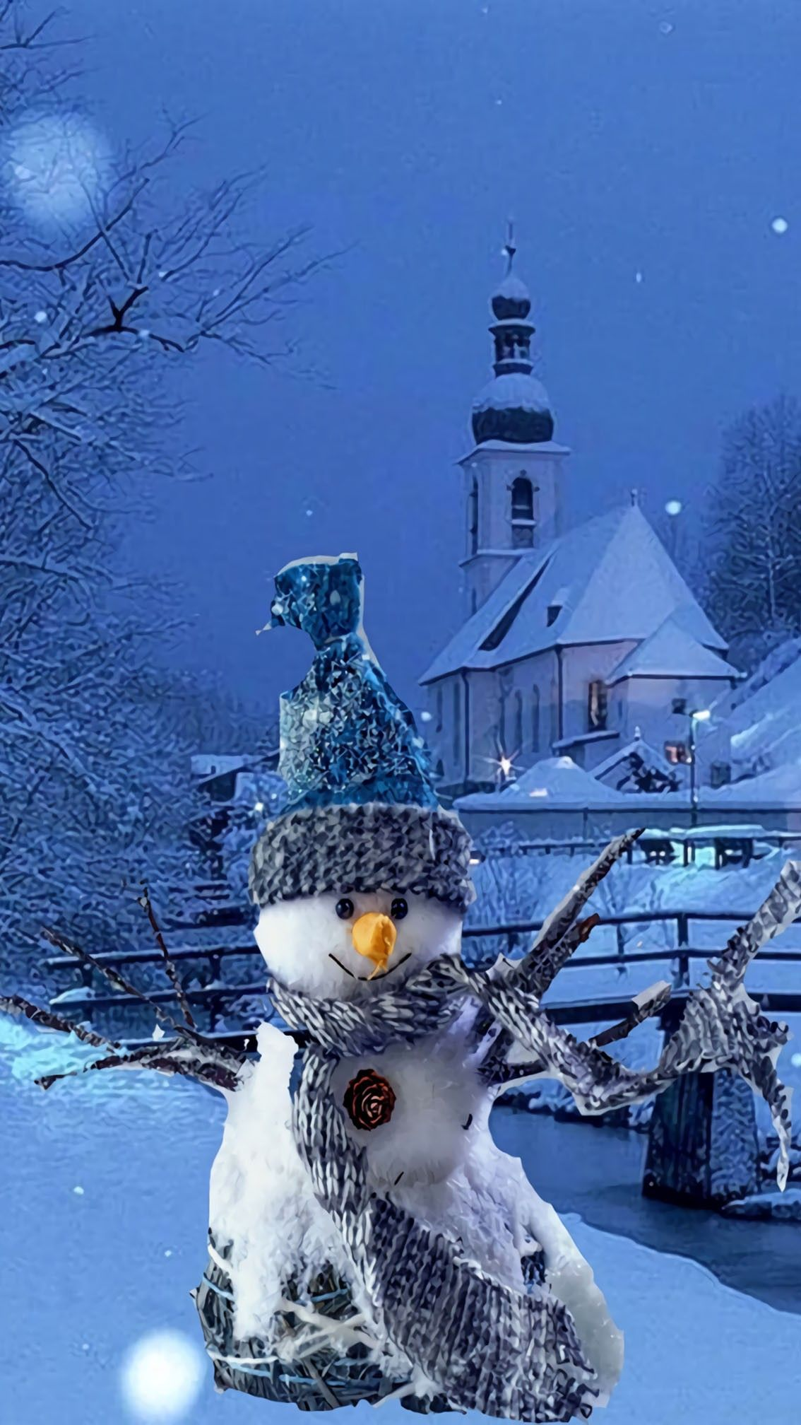 Download Merry Christmas Snowman Wallpaper Blue and Silver