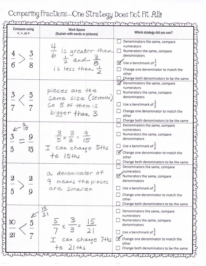 worksheet Comparing Fractions Same Numerator Worksheet comparing fractions key pdf 4th grade pinterest pdf