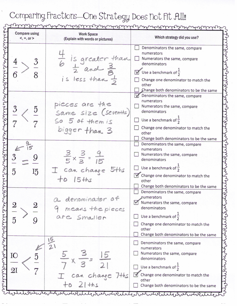 Comparing Fractions Key.pdf Ccss math, Comparing fractions