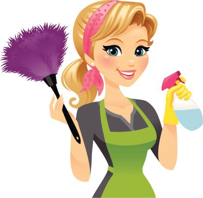 A Pretty Girl With Feather Duster In One Hand And Spray Bottle Clip Art Cleaning