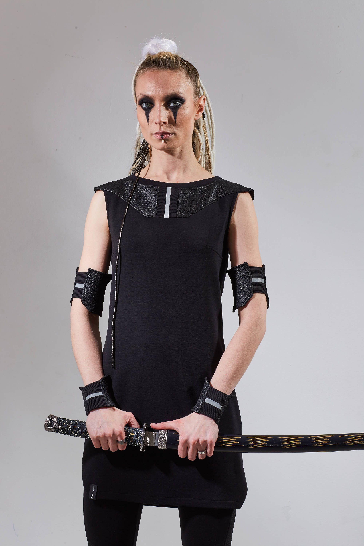 Womens black tunic cyberpunk dress shirt longline top futuristic ...