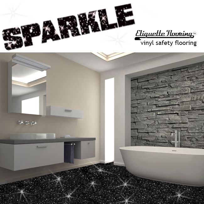 Black Sparkle Safety Flooring Bathroom Floor Vinyl Lino