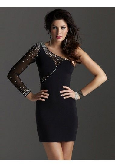 One Shoulder Black Short Formal Dresses