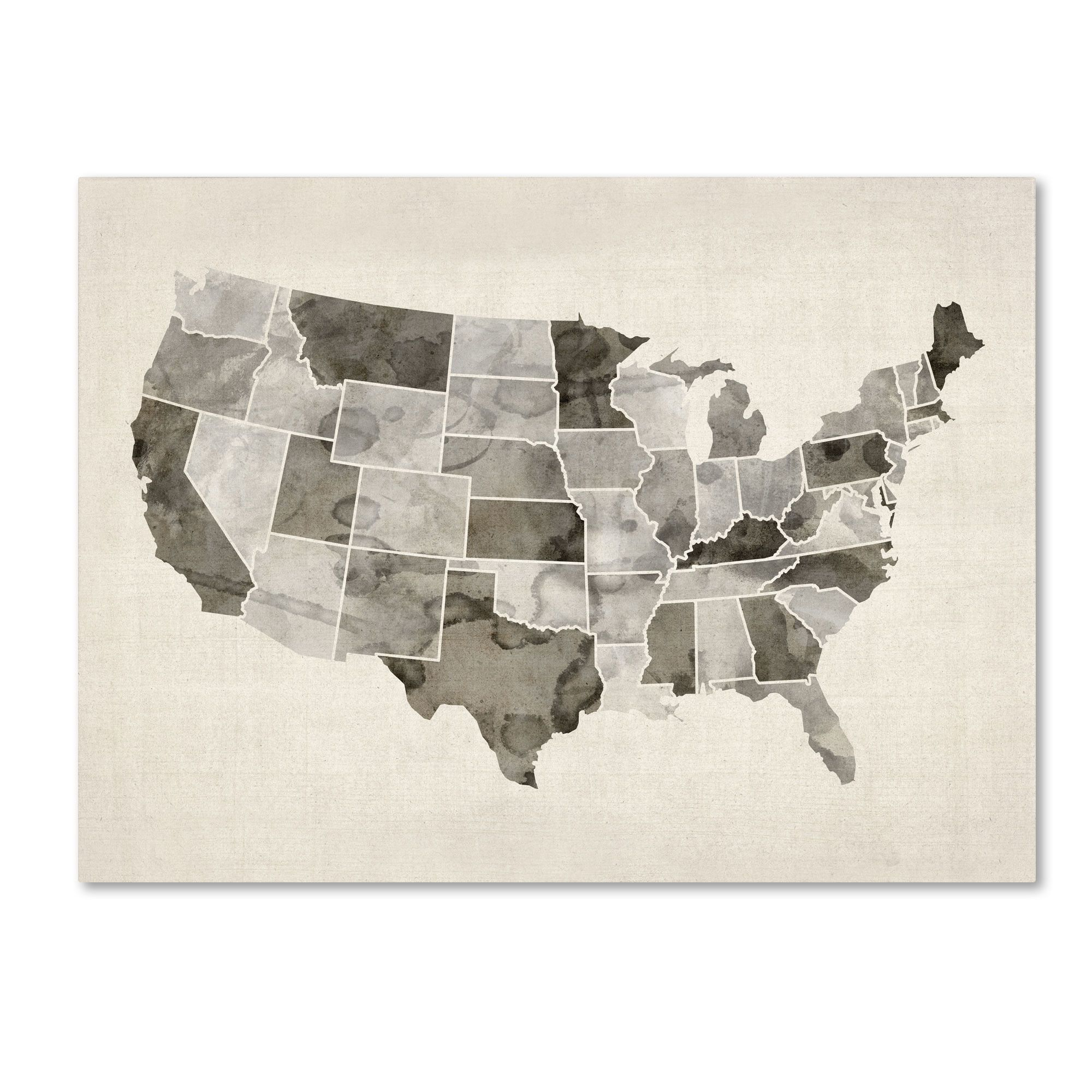 United States Watercolor Map By Michael Tompsett Graphic Art - United states watercolor map
